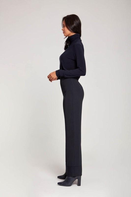 Çizgili Bol Paça Pantolon (Lacivert)