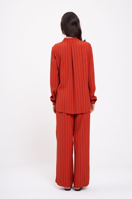 Çizgili Boyun Bağlı Bluz (Kiremit) - Thumbnail