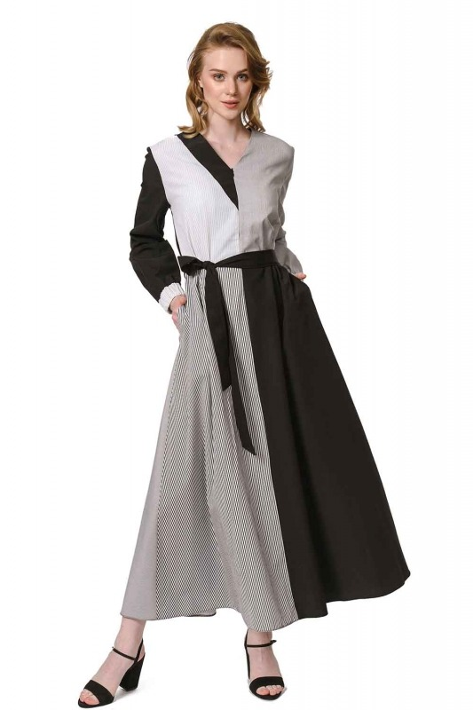 فستان مقلم متعدد القطع (أسود)