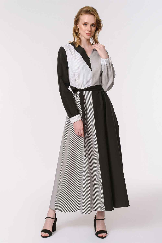 MIZALLE فستان مقلم متعدد القطع (أسود) (1)