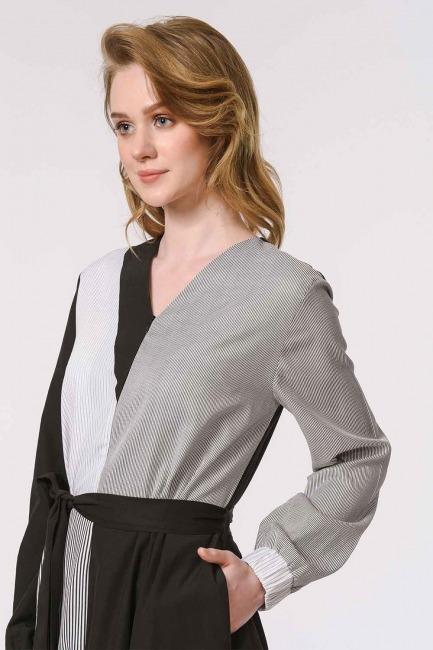 Çizgili Çok Parçalı Elbise (Siyah) - Thumbnail