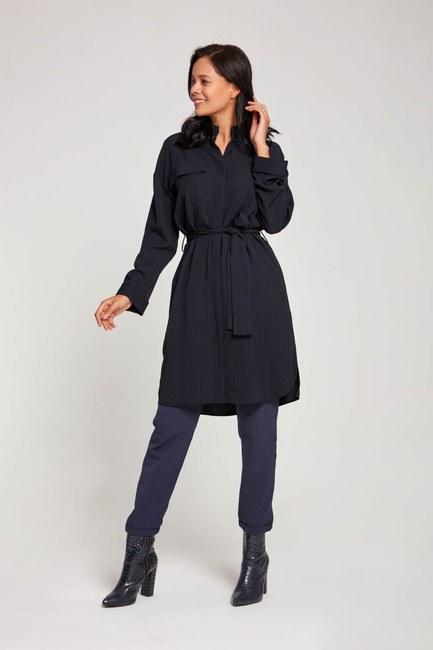 Çizgili Elbise Tunik (Lacivert) - Thumbnail