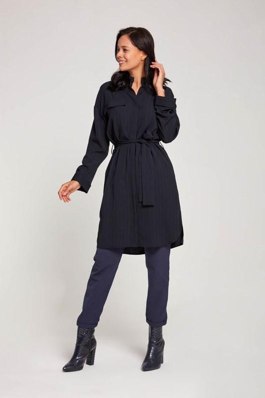Çizgili Elbise Tunik (Lacivert)