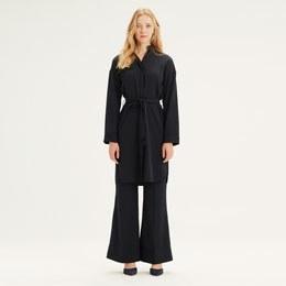 Çizgili Elbise Tunik (Siyah) - Thumbnail