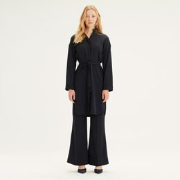 Çizgili Elbise Tunik (Siyah)