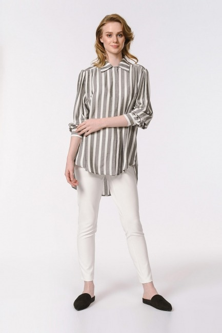 Mizalle - Çizgili Geniş Yakalı Gömlek Bluz (Ekru-Gri)