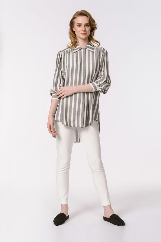 Çizgili Geniş Yakalı Gömlek Bluz (Ekru-Gri)