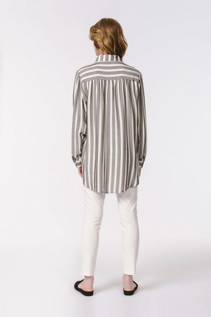 Çizgili Geniş Yakalı Gömlek Bluz (Ekru-Gri) - Thumbnail