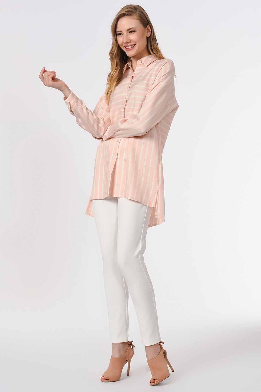 MIZALLE بلوزة قميص مخططة (وردي) (1)