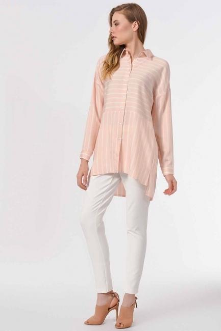 Çizgili Gömlek Bluz (Pembe) - Thumbnail