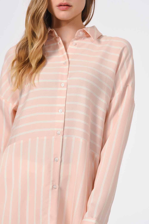 MIZALLE Çizgili Gömlek Bluz (Pembe) (1)