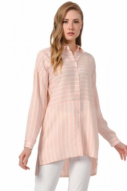 MIZALLE Çizgili Gömlek Bluz (Pembe)