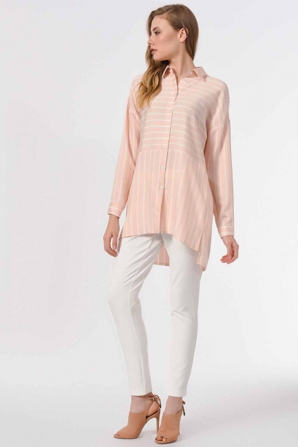 Striped Shirt Blouse (Pink) - Thumbnail