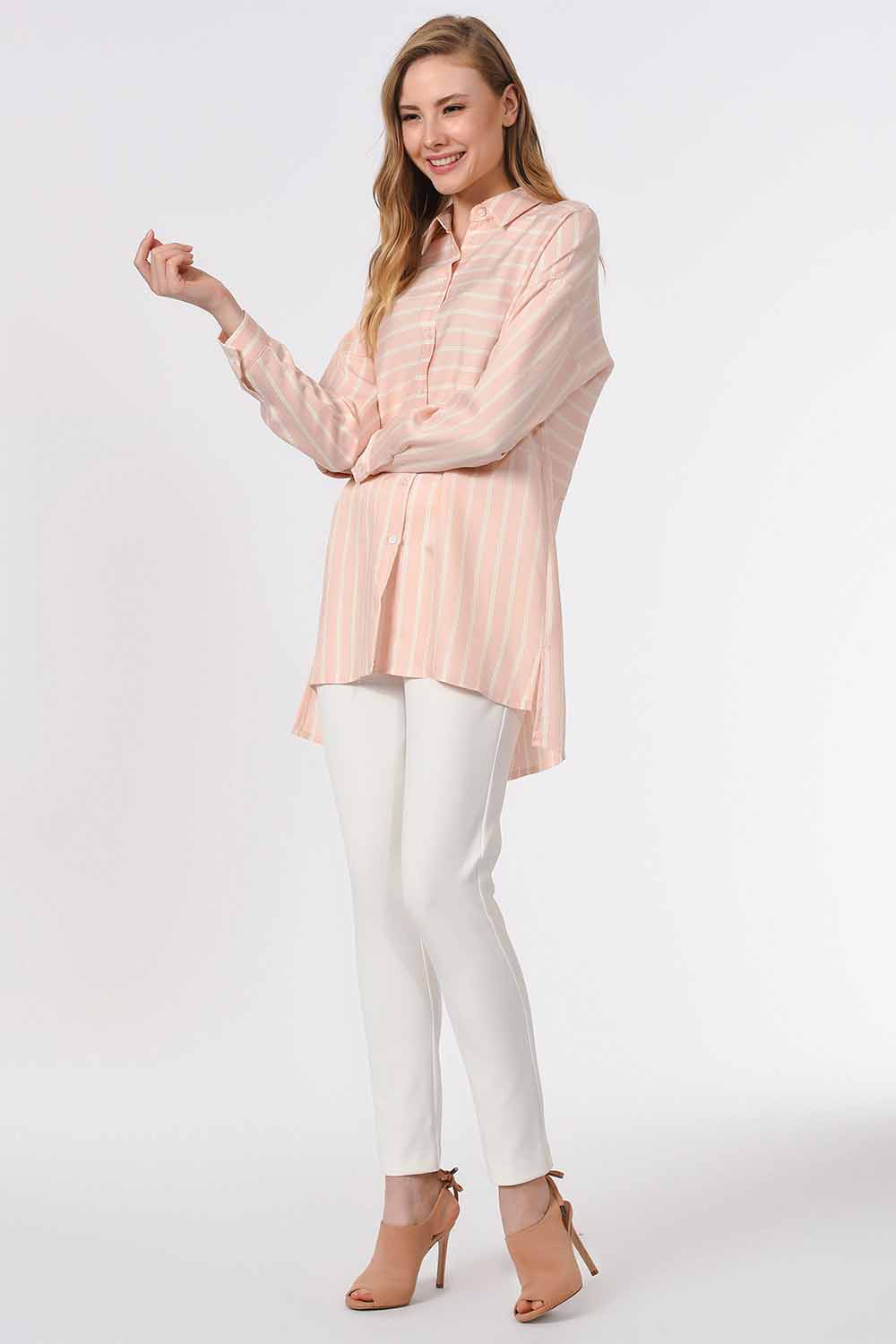 MIZALLE Striped Shirt Blouse (Pink) (1)