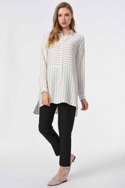 MIZALLE - بلوزة قميص مخططة (عاجي / أسود) (1)