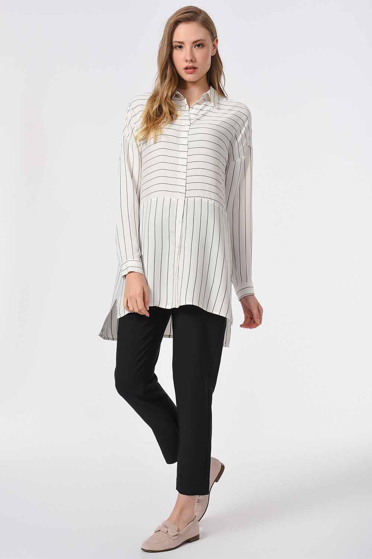MIZALLE Çizgili Gömlek Bluz (Siyah) (1)