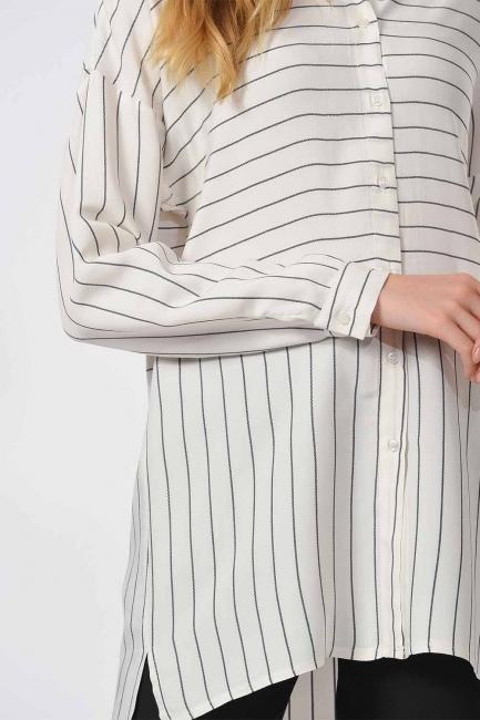 Striped Shirt Blouse (Black) - Thumbnail