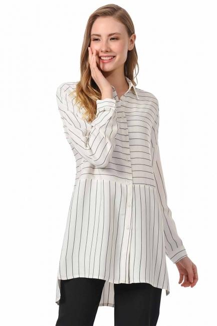 MIZALLE Striped Shirt Blouse (Black)