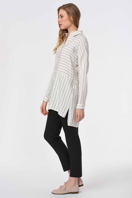 MIZALLE Striped Shirt Blouse (Black) (1)