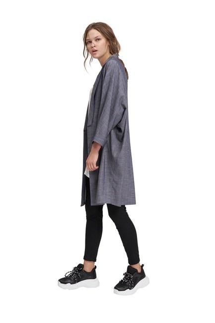 Çizgili Hırka Ceket (İndigo) - Thumbnail