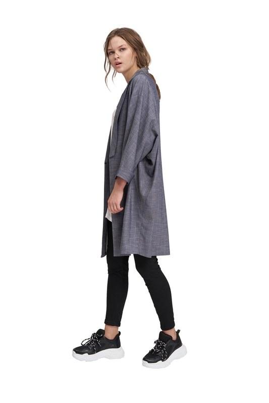 Çizgili Hırka Ceket (İndigo)