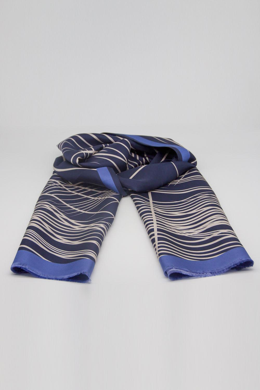 Çizgili İpek Şal (Mavi)