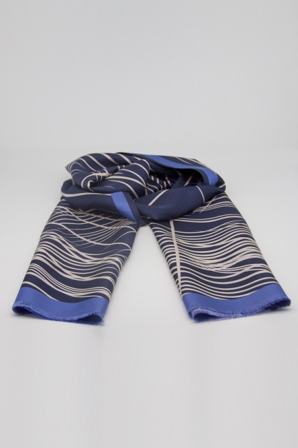 Mizalle - Çizgili İpek Şal (Mavi)