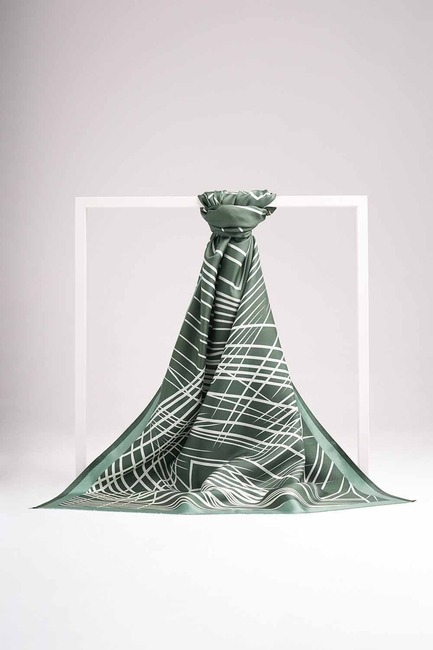 Çizgili İpek Şal (Yeşil) - Thumbnail