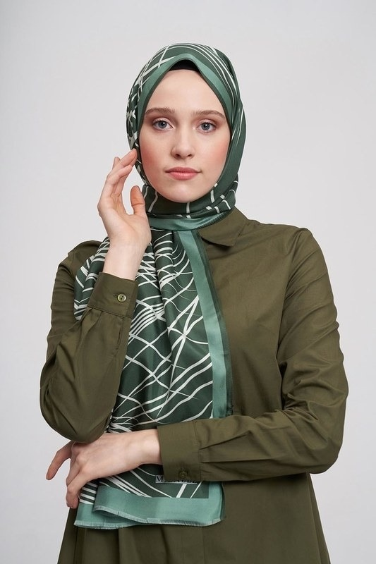 Çizgili İpek Şal (Yeşil)