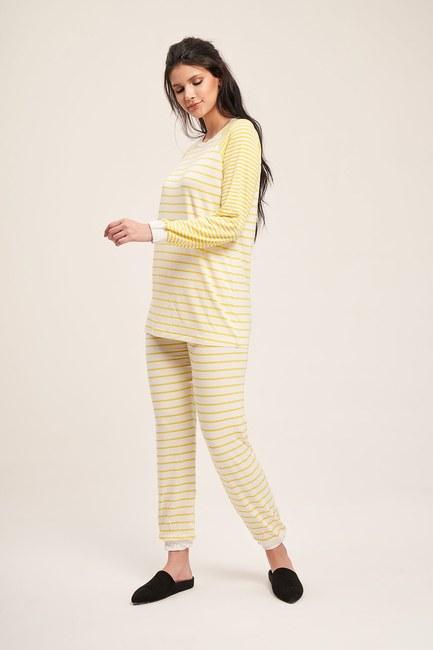 Mizalle - Çizgili Kaşkorse Pijama Takımı (Sarı)
