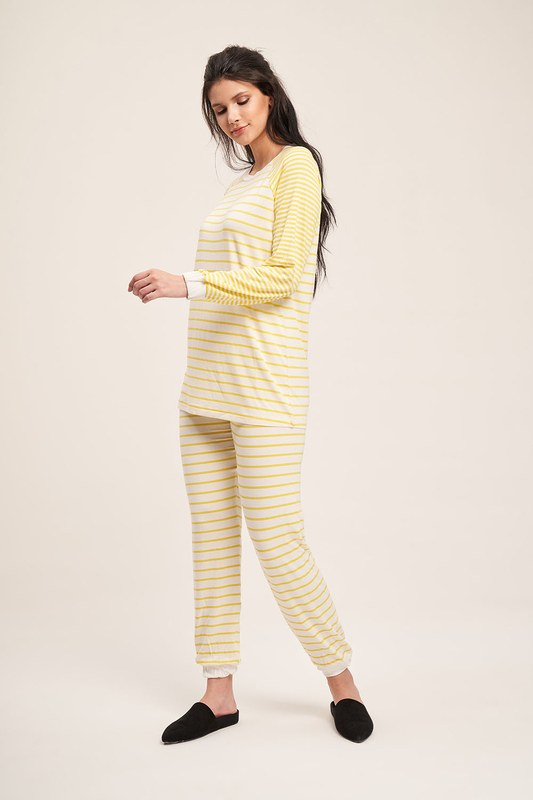 Çizgili Kaşkorse Pijama Takımı (Sarı)