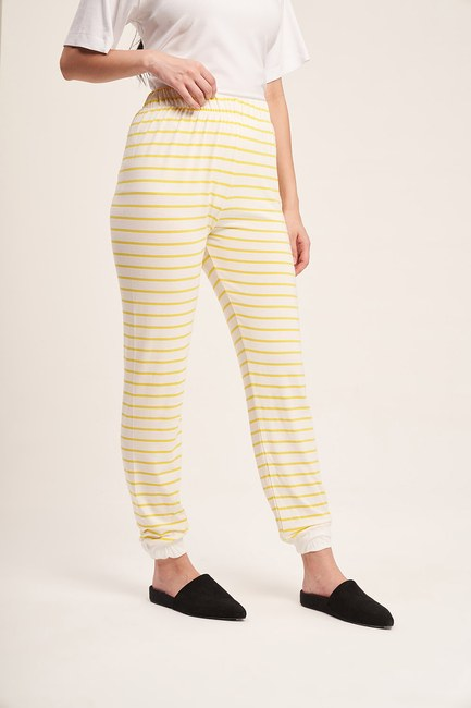 Çizgili Kaşkorse Pijama Takımı (Sarı) - Thumbnail
