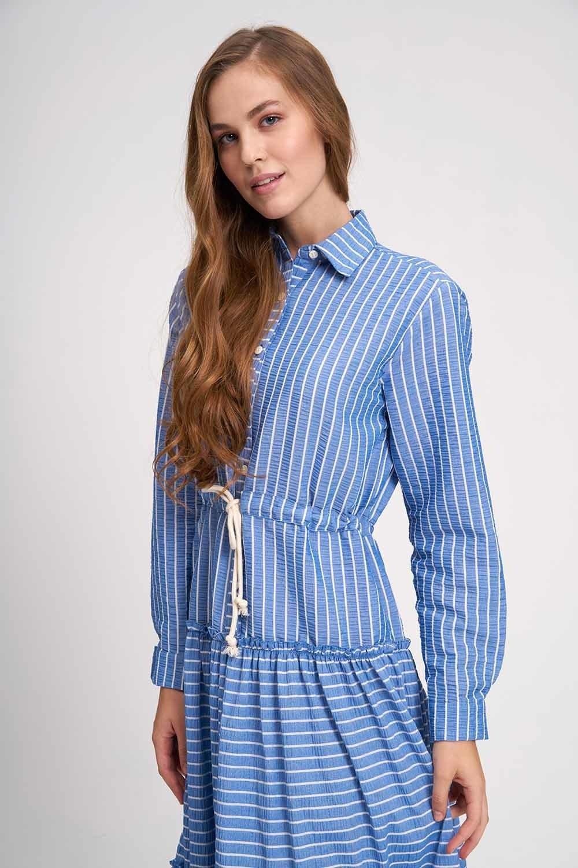 Çizgili Kat Kat Maxi Elbise (İndigo) (1)