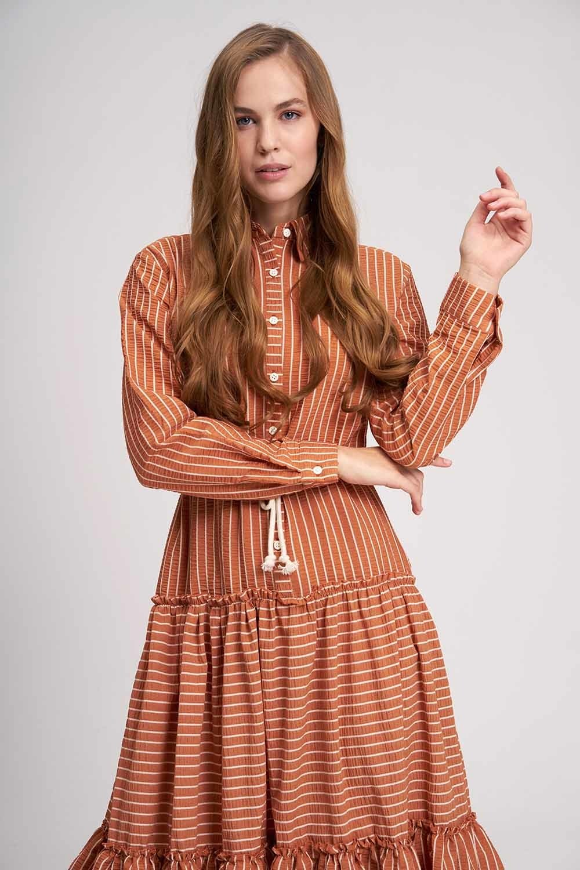 Çizgili Kat Kat Maxi Elbise (Kiremit) (1)