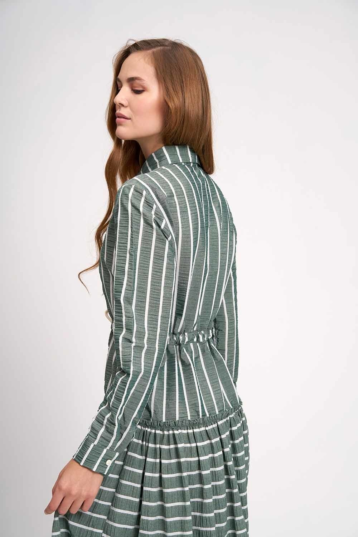 MIZALLE Çizgili Kat Kat Maxi Elbise (Haki) (1)