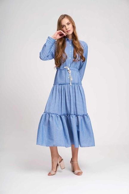 Mizalle - Çizgili Kat Kat Maxi Elbise (İndigo)