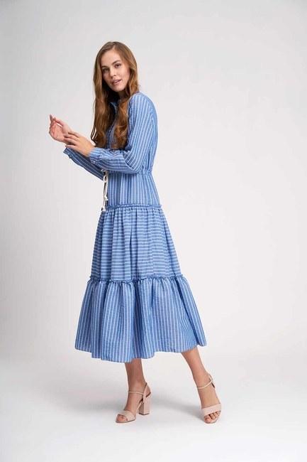 Çizgili Kat Kat Maxi Elbise (İndigo) - Thumbnail