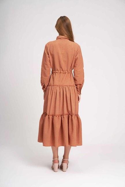 Çizgili Kat Kat Maxi Elbise (Kiremit) - Thumbnail