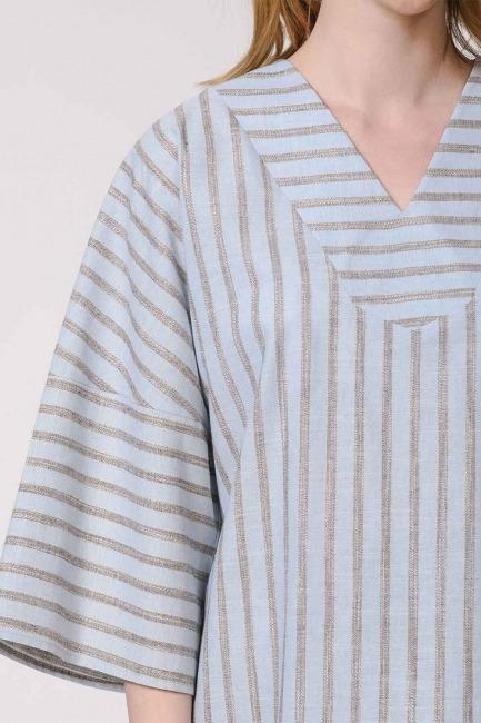 Çizgili Keten Dokulu Bluz (Açık Mavi) - Thumbnail
