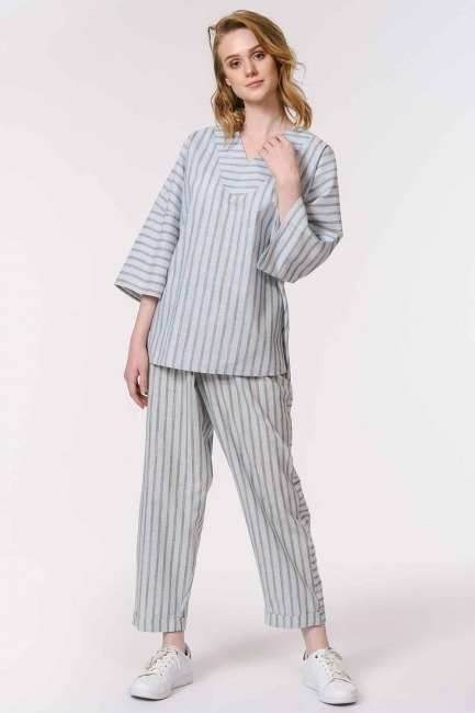 MIZALLE - Striped Linen Textured Blouse (Light Blue) (1)