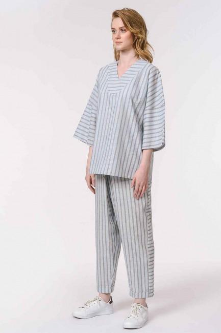 Striped Linen Textured Blouse (Light Blue) - Thumbnail