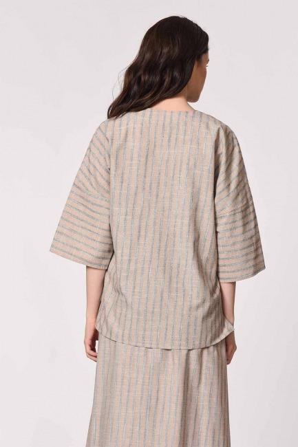 Striped Linen Textured Blouse (Beige) - Thumbnail