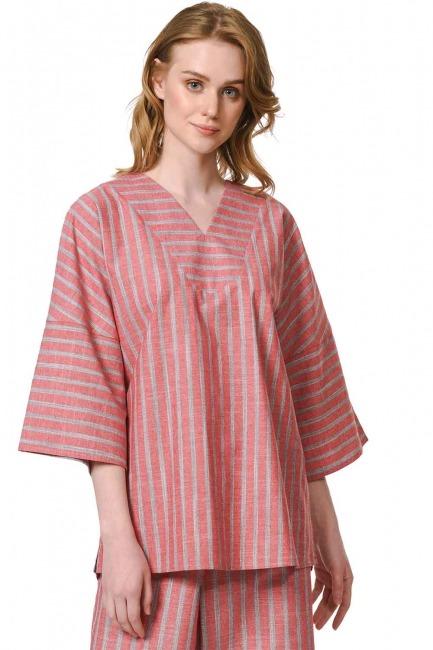 MIZALLE Striped Linen Textured Blouse (Orange-Red)