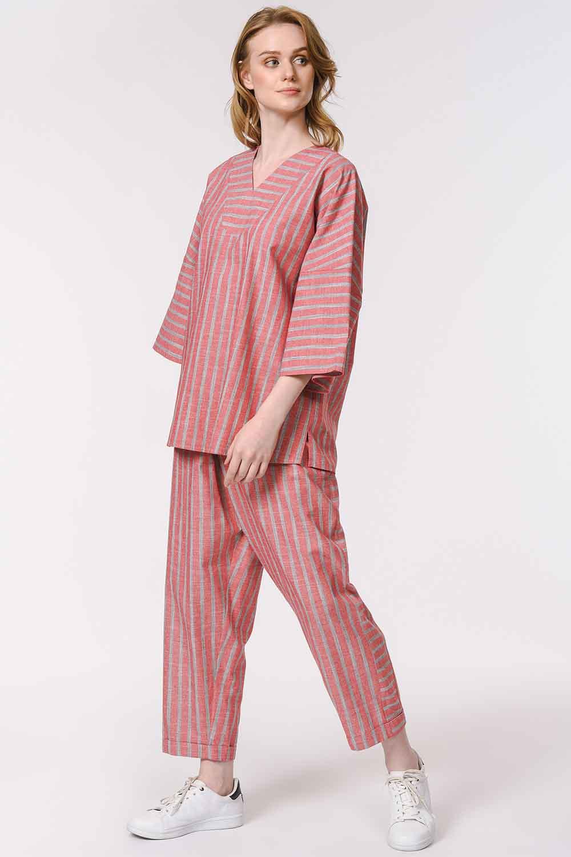 MIZALLE Striped Linen Textured Blouse (Orange-Red) (1)