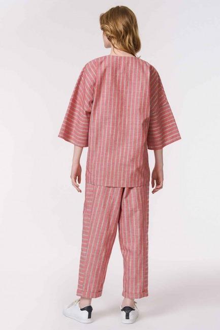 Striped Linen Textured Blouse (Orange-Red) - Thumbnail