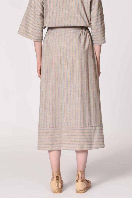 Striped Linen Textured Skirt (Beige) - Thumbnail