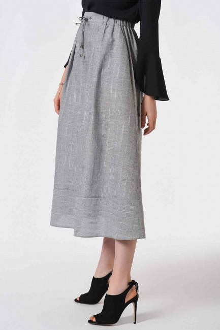 Striped Linen Textured Skirt (Grey) - Thumbnail