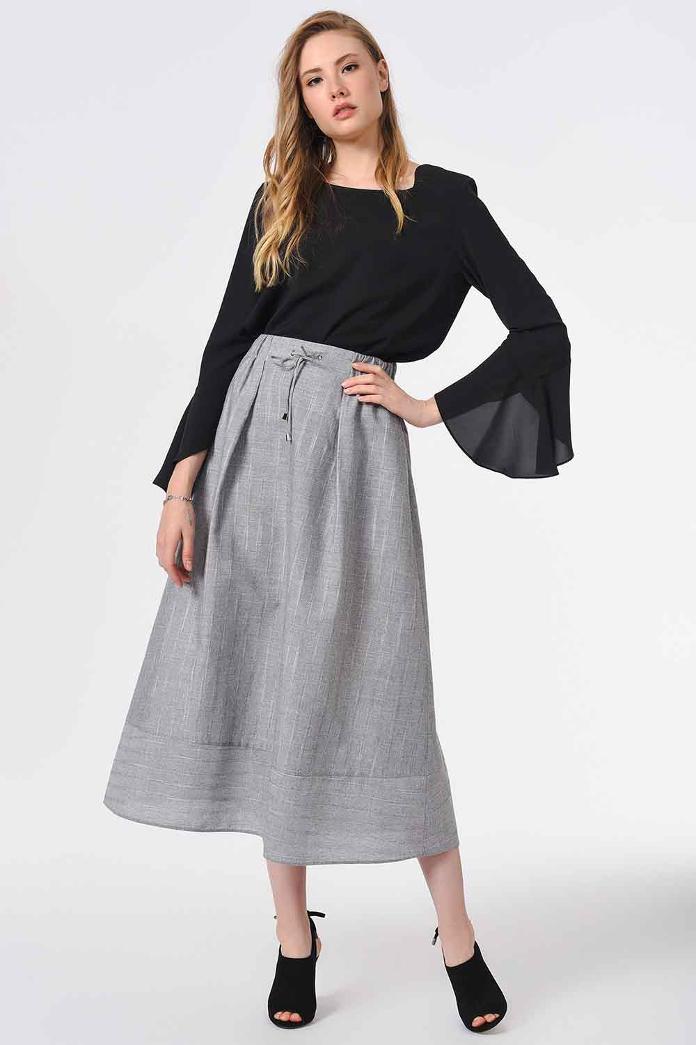 MIZALLE Striped Linen Textured Skirt (Grey) (1)