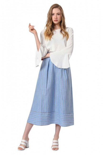 MIZALLE Striped Linen Textured Skirt (Blue)