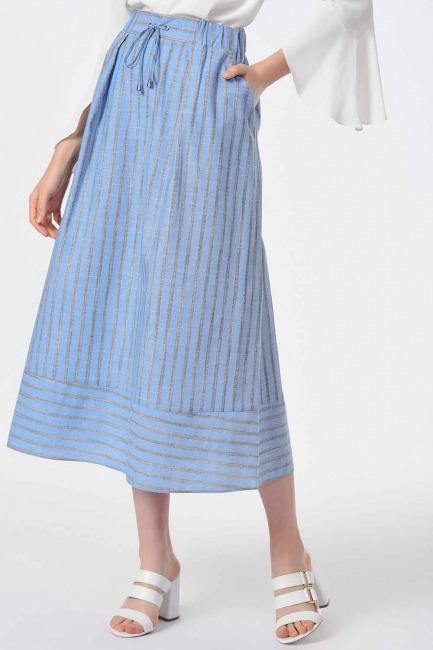 Striped Linen Textured Skirt (Blue) - Thumbnail